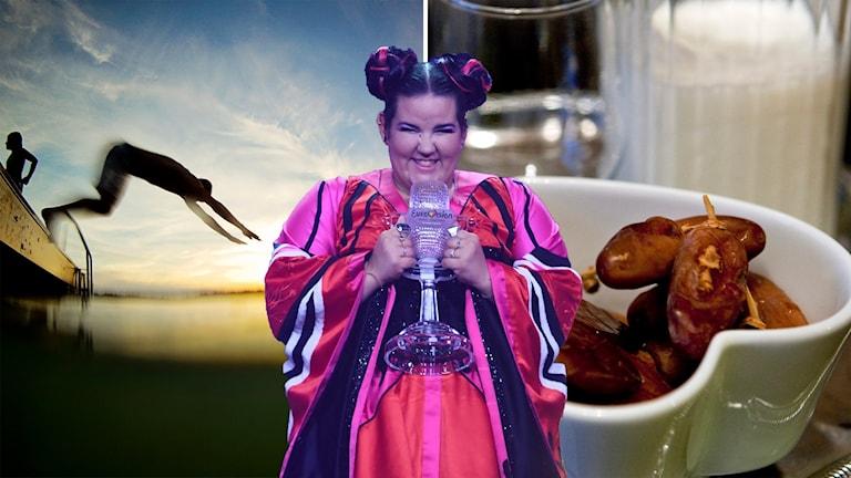 Sommarvärme, Israels eurovisionvinst och dadlar och mjölk en kväll under ramadan.