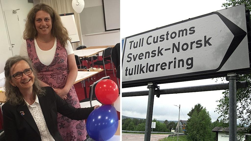 Runi Wold och Karin Ardefeldt vid Älvdalens kommun och tullskylten vid gränsen mellan Sverige och Norge vid Idre.