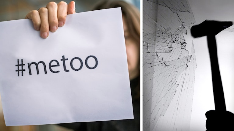 Papper med texten #metoo samt hammare som slår sönder glasruta.