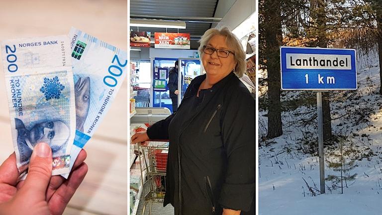 """Norska pengar, Else-Marie Flermoen och en vägskylt med ordet """"lanthandel"""""""