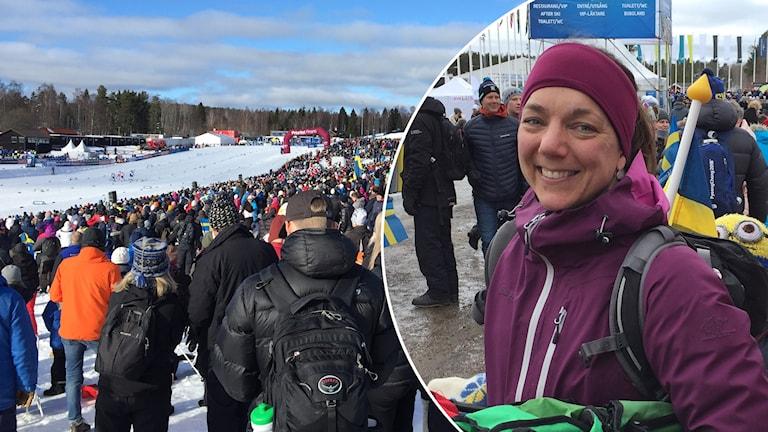 Linda Nääs var på plats på Svenska skidspelen med sina söner för att titta på de svenska åkarna.