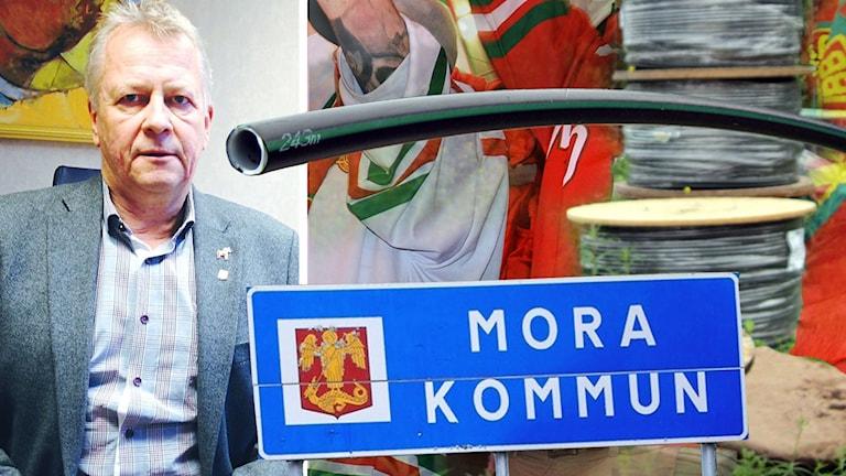 Bildkollage av fiberoptikkablar, rödvitklädda människor, en skylt med texten Mora kommun och Moras kommundirektör Peter Karlsson.
