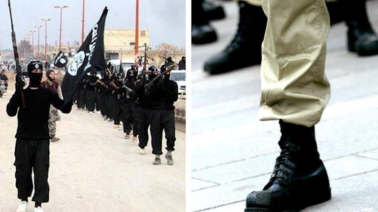 IS-terrorister och ett ben där man ser beiga byxor och svarta kängor.
