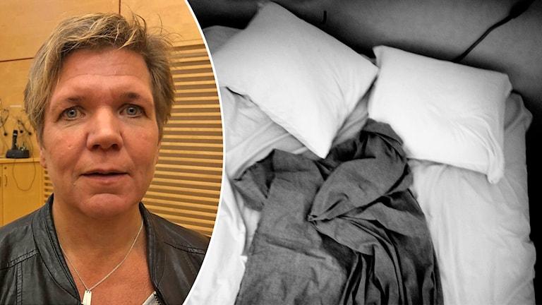 Porträttbild på Mia Schyberg, regionskoordinator polisregion Berslagen, och en obäddad säng.
