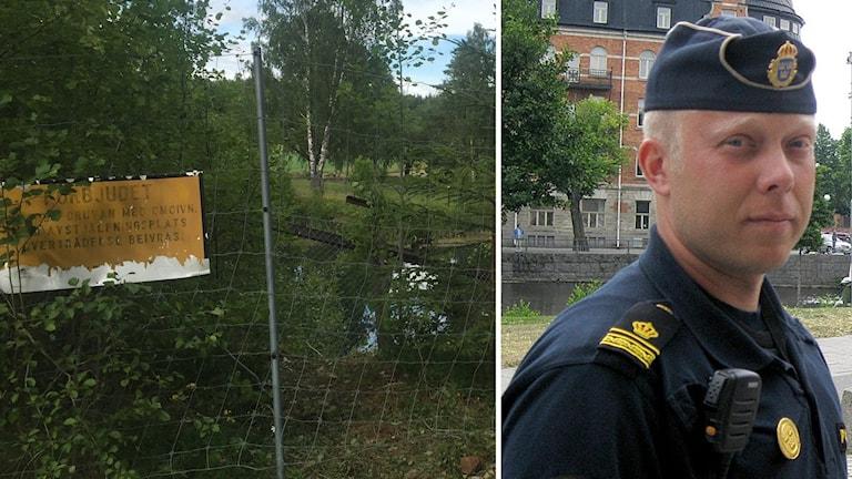 En bild på gruvhålet i Långshyttan där kvinnan hittades död och en bild på polisen Ted Esplund