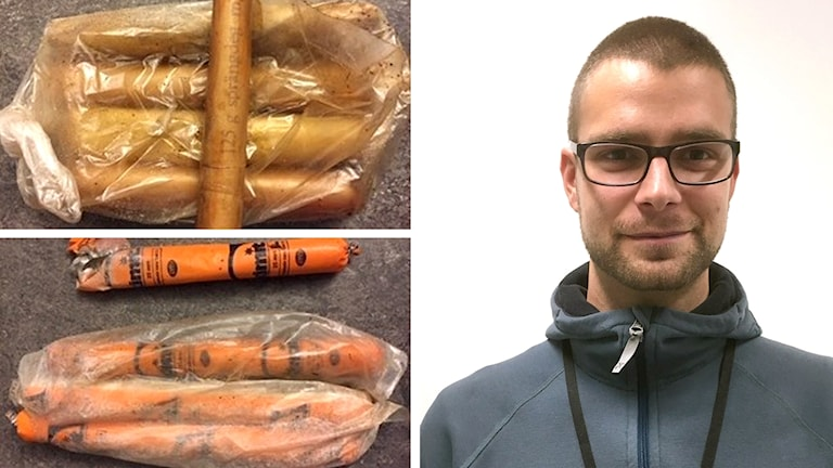Bilden visar två foton på dynamit och annat sprängmedel som ligger i plastpåsar, samt ett foto på en mycket kortklippt man i glasögon och en blå sportjacka.