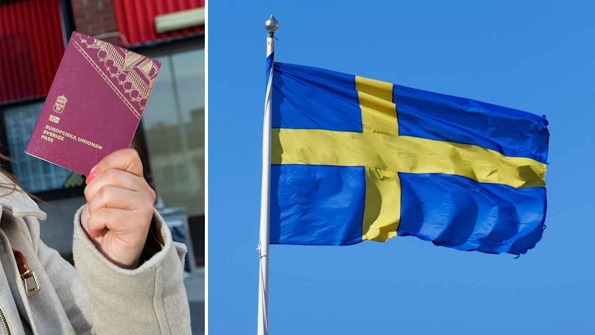 Ett svenskt pass och svenska flaggan