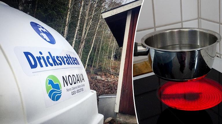 En vattentank från vattenbolaget Nodava och en kastrull på en kokande platta.