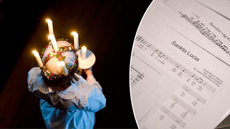 En lucia med ljus i hår och noter till sången Sankta Lucia.