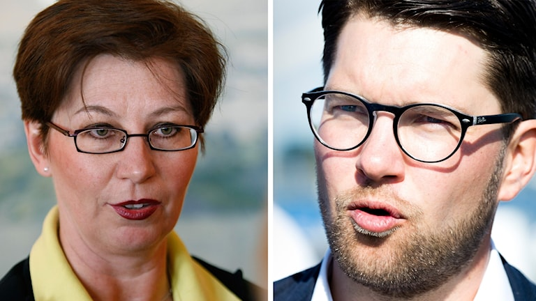 Porträttbilder på Sverigedemokraterna Anna Hagwall och Jimmie Åkesson