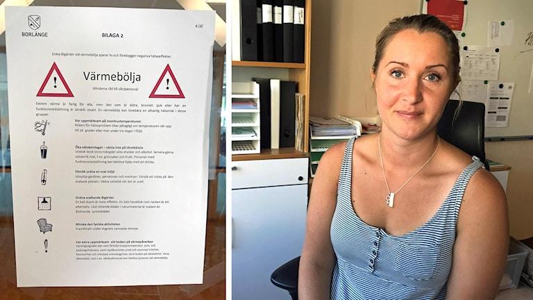 Bild på anslag om råd i värmebölja samt bild på Anna Davidsson, enhetschef sociala sektorn i Borlänge kommun.