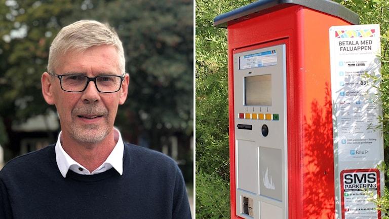 Gunnar Barke och en parkeringsautomat