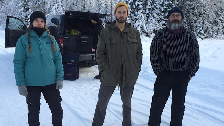 Elin Ljungvall, Daniel Zetterström och Dima Litvinov från Greenpeace