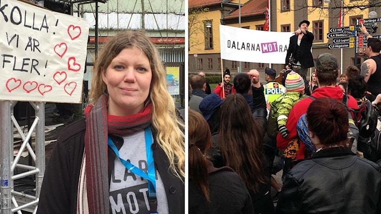 Angelica Andersson och en bild från en demonstration