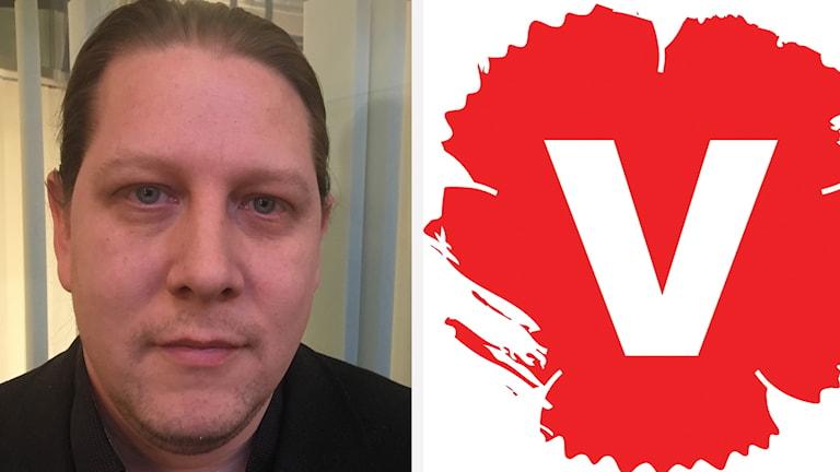 Patrik Liljeglöd och Vänsterpartiets logga