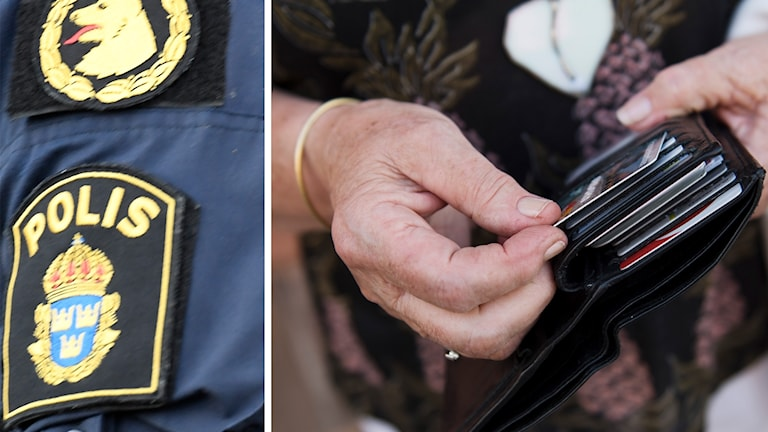 Polislogga och en person som tar upp ett kontokort