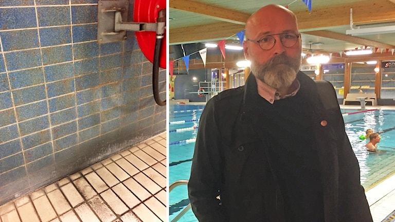 Fritidschefen Lasse Ericsson, framför bassängen i Moras simhall.
