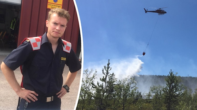 Johan Szymanski står med händerna i sidorna iklädd blå tröja. Den andra bilden visar en helikopter som flyger över en skog och släpper ner vatten.
