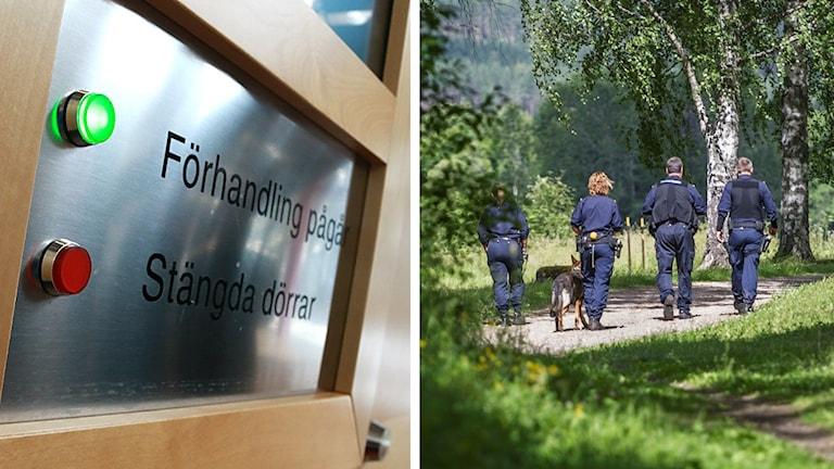Skylt utanför en rättegångssal, och en bild från polisernas undersökning i Långshyttan