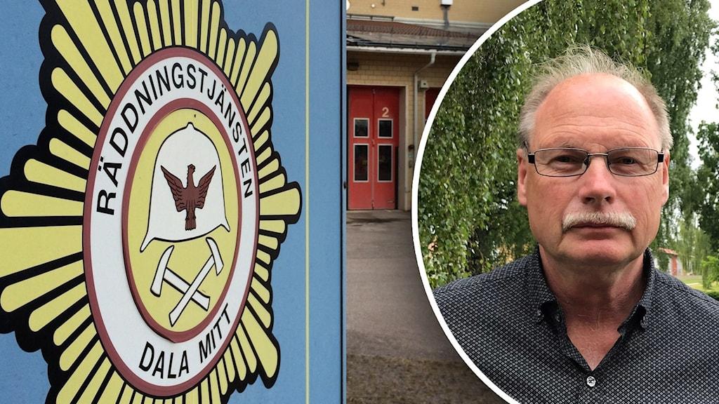 En blå skylt med Räddningstjänsten Dala Mitts emblem, Samt en bild på en man i glasögon som står i grönska.
