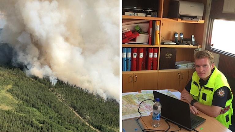 Flygbild från skogsbranden i Trängslet samt räddningsledare Johan Szymanski som sitter vid ett skrivbord.