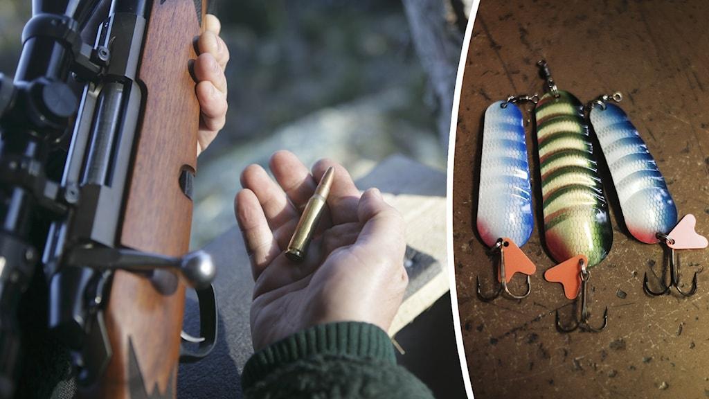 Närbild på händer som laddar ett jaktgevär med en kula, samt bild på tre fiskekrokar med drag.