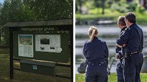 En skylt från Rällingsbergs gruva och en bild på poliser från mordplatsen