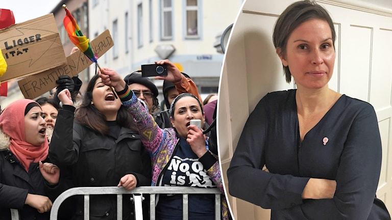 Bild på Liza Lundberg och en bild på demonstranter.