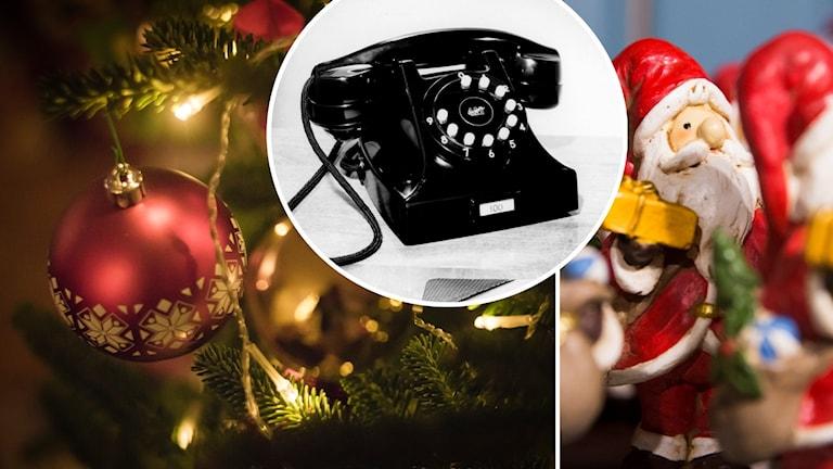 Bilden föreställer en julgran och julkula, en telefon och en prydnadstomte.