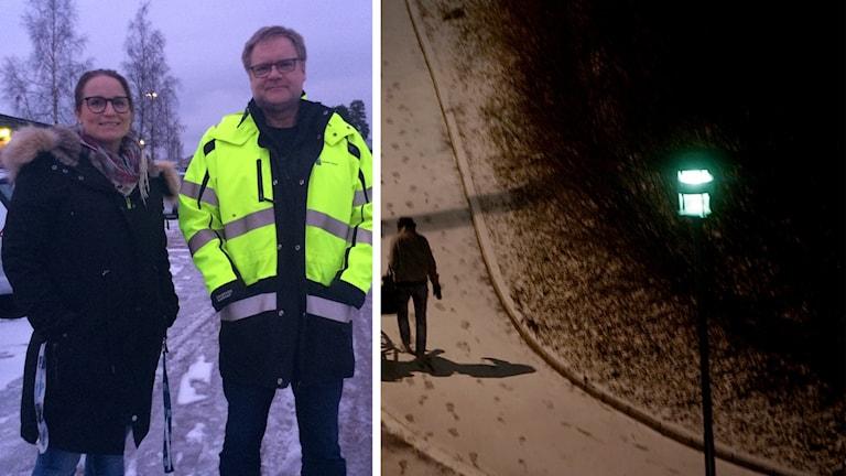 Erica Dahlin utredare på lokala BRÅ i Avesta och Mikael Jansson Chef för teknisk service i Avesta och en mörk gångstig