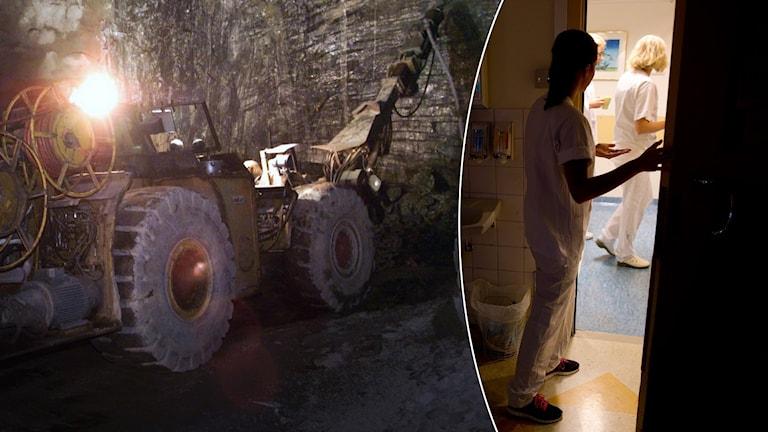 En borrmaskin i en gruva. En sjuksköterska går in genom en dörr på ett sjukhus.