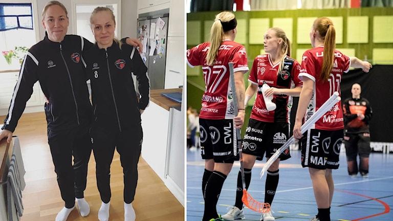 Innebandyspelarna Louise Wikström och Malin Lundkvist i Kais Mora.