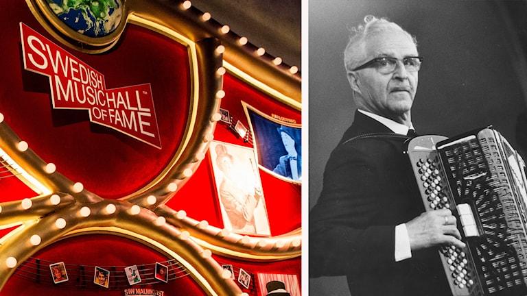 Calle Jularbo och en skylt där det står Swedish Music Hall of Fame