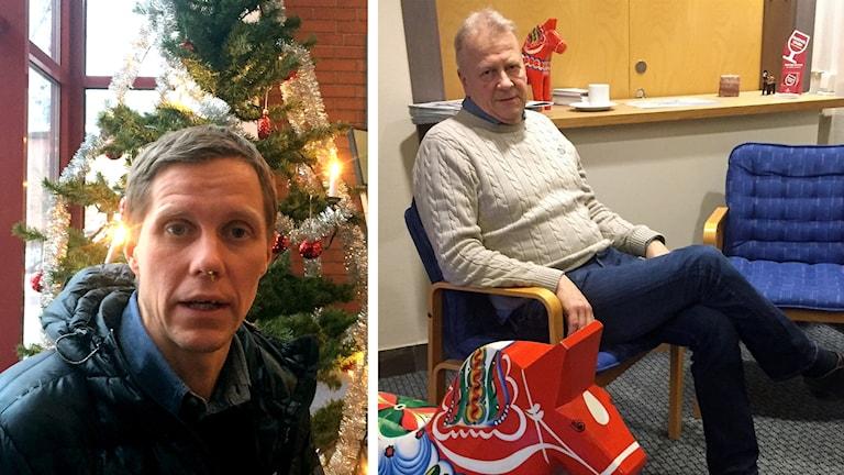 Till vänster bild på Pontus Bråmer som tittar in i kameran, till höger bild på Peter Karlsson som sitter i en stol.