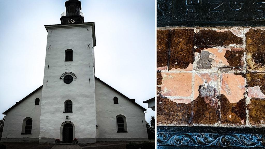 Vit kyrka med svart torn, och närbild på slitet golv uppifrån.