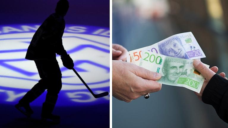 En Leksands IF-spelare och två händer som byter pengar.