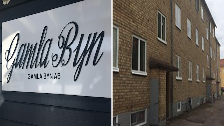 Skylt på  Gamla Byn samt bild på lägenheter i Krylbo.