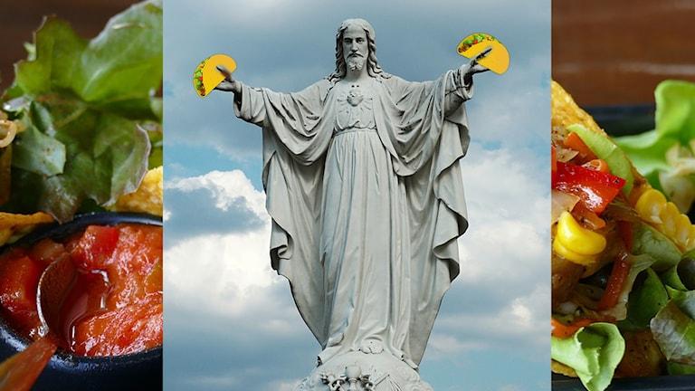 En jesusstaty som håller i tacos