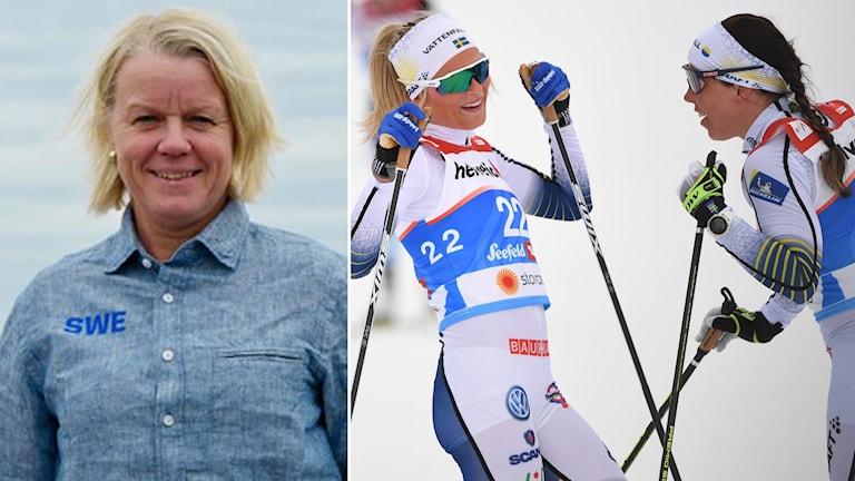 Karin Ersson och stjärnduon Frida Karlsson och Charlotte Kalla.