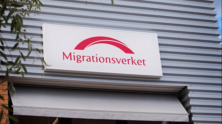 En skylt till Migrationsverkets kontor
