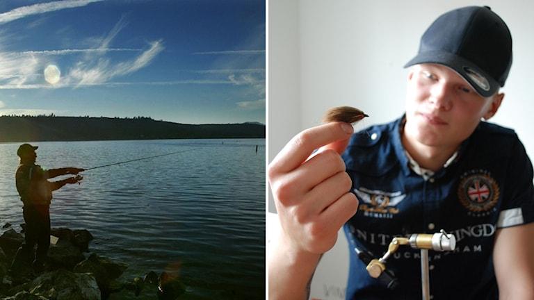Markus Ahlin med en av sina flugor.