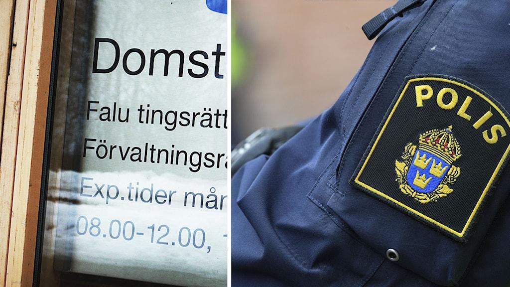 Bild på skylt där det står Domstol, Falu tingsrätt och öppettider, samt bild på en arm som är klädd i en polisuniform med emblem.
