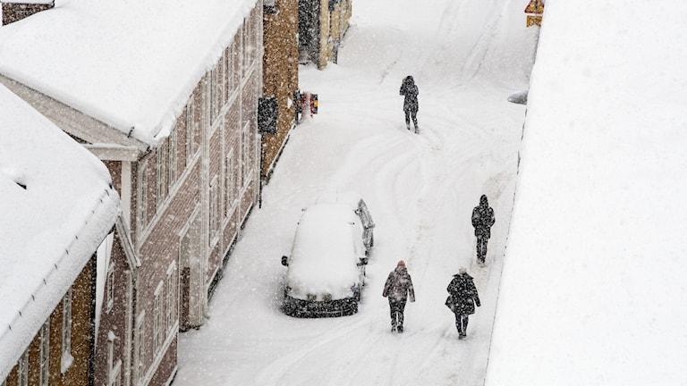 Människor promenerar på en snötäckt gata i Falun.