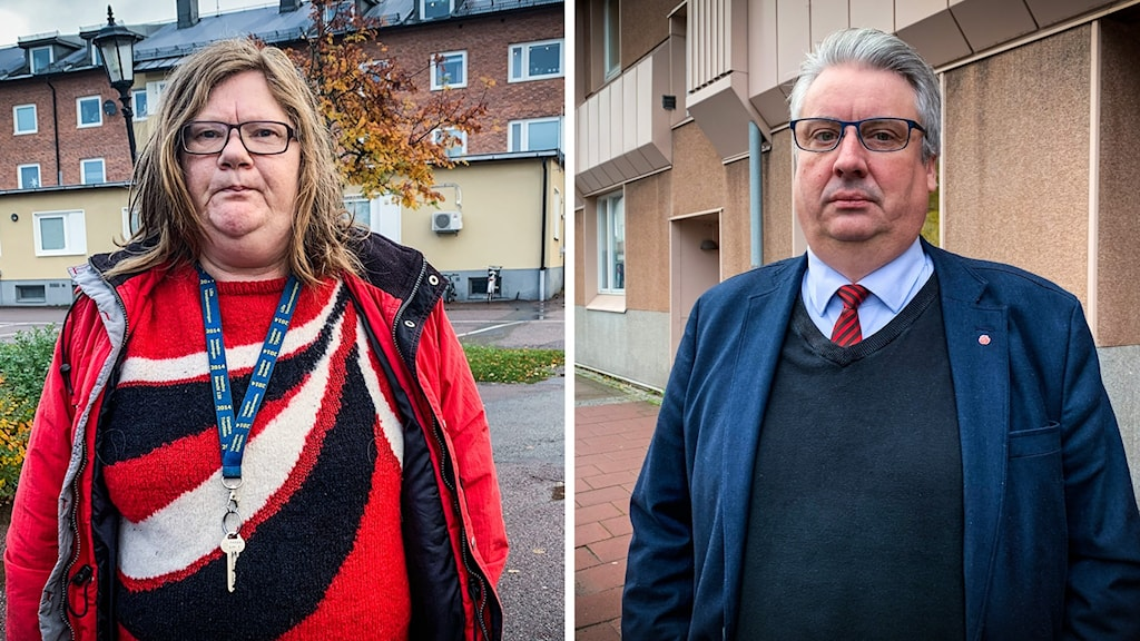 En kvinna i röd tröja och jacka och en man i blå tröja och kavaj. Båda ser allvarliga ut.