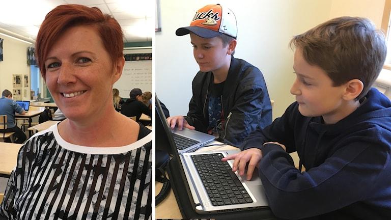 Linda Cederman, lärare, och elever på Morkarlsbyhöjdens skola i Mora.