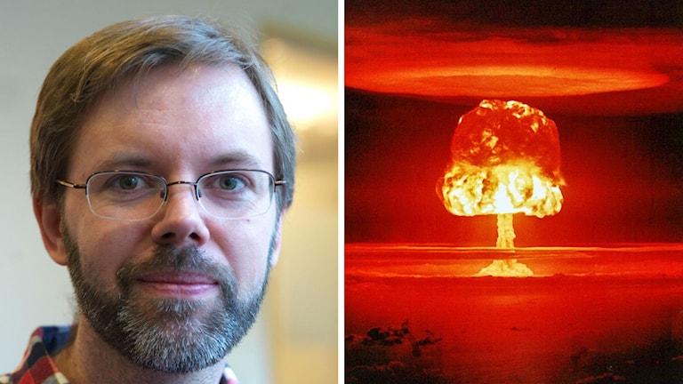 Martin Goliath, forskare vid FOI, och en bild på en vätebomb som exploderar.