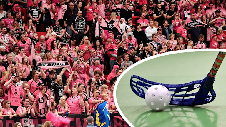 Dels bild på rosaklädd publik, dels infälld närbild på innebandyboll och -klubba.
