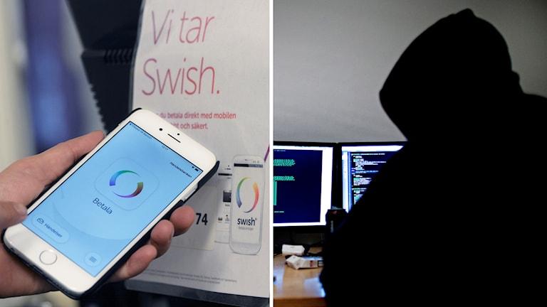 En mobiltelefon med appen swish på displayen