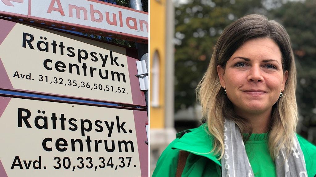 En skylt till rättspsykiatriskt centrum på Säters sjukhus
