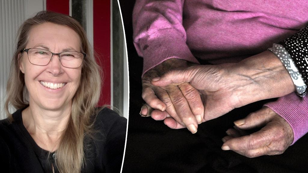 Bild på Maria Nilsson som ser glad ut och på två personer, en yngre och en äldre, som håller hand.